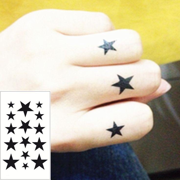 25 Stil Mini Geçici Dövme Vücut Sanatı, siyah Yıldız Tasarımları, flaş Dövme Etiket 3-5 gün Tutmak Su Geçirmez 10.5*6 cm