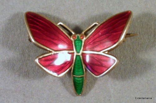 Vintage Norway Sterling Silver Enamel Butterfly Brooch Einar Modahl Design | eBay