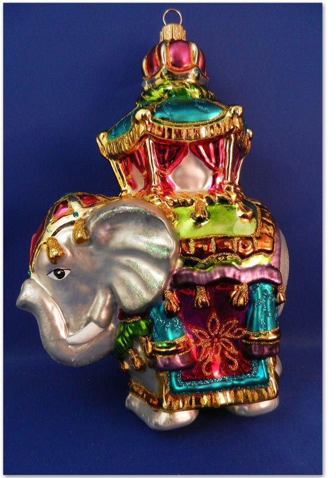 Hindu Elephant India blown Glass Christmas Ornament zoo