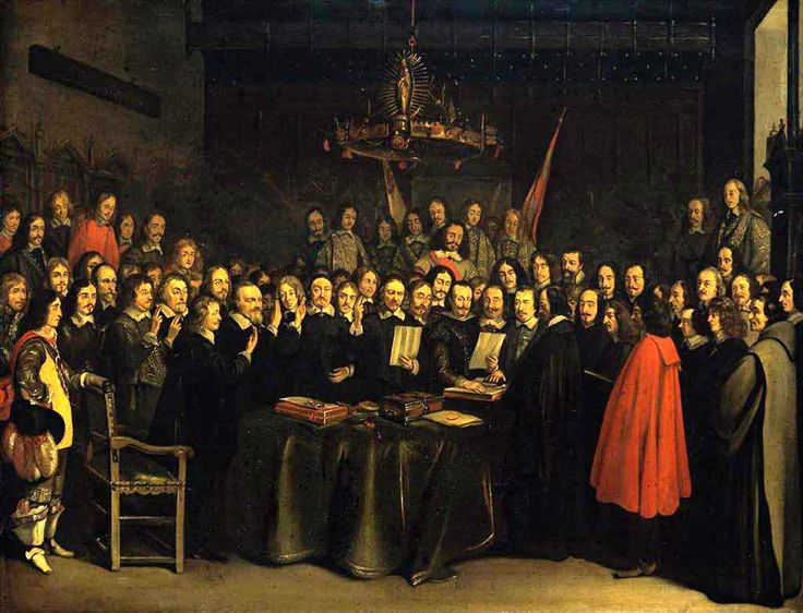 Gerard ter Borch (1617-1681) Ratification of the Peace of Münster between Spain and the Dutch Republic in the town hall of Münster, 15 May 1648.