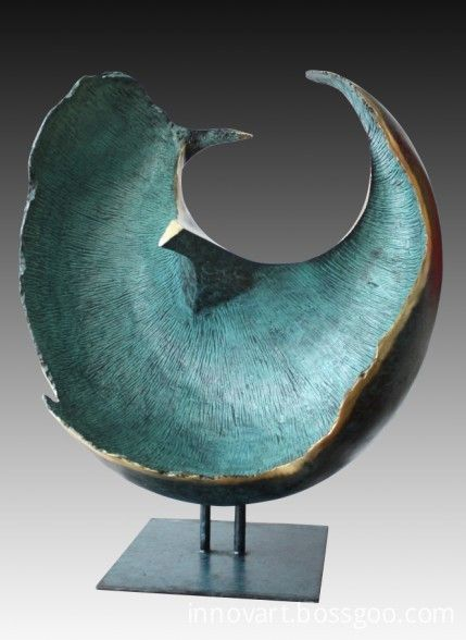 modern abstract bronze sculpture More