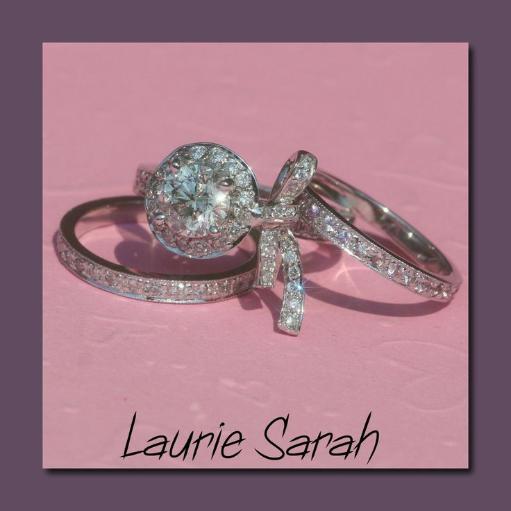 One Carat Diamond Bow Engagement Ring with by LaurieSarahDesigns, $9,301.78