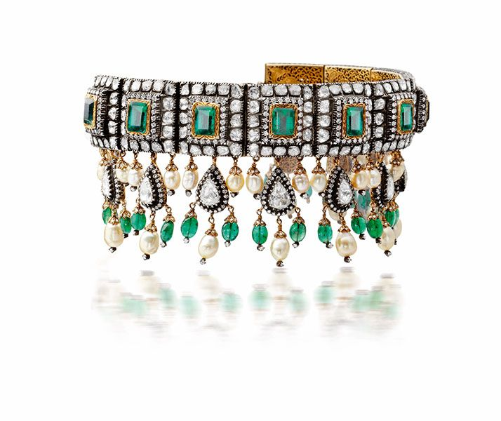 Victorian choker with emerald, rose cut diamond and pearl set in silver and gold