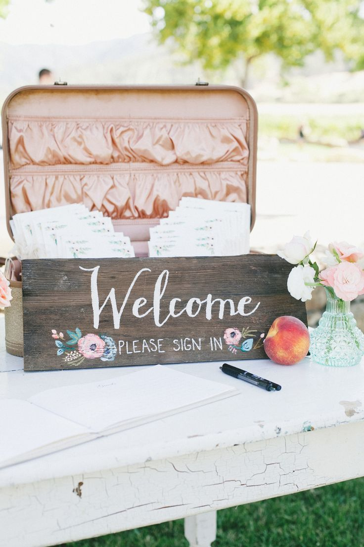 Cute welcome sign for the guestbook table! //// Photo by onelove photography