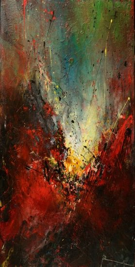 Eclat, Roseline Al Oumami. Abstract Painting. Mixed Media.