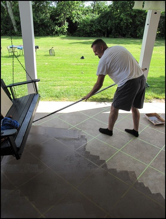 DIY how to stain concrete - that's pretty neat how they've taped off squares...