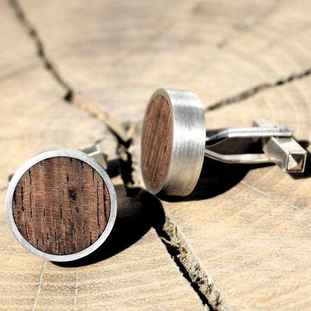 Manschettenknöpfe - Manschettenknöpfe 925/-Silber mit Holz - ein Designerstück von larajola bei DaWanda