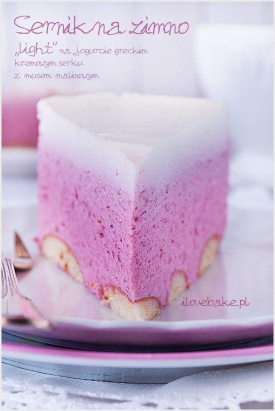 No bake yogurt cheesecake with raspberry mousse / SERNIK NA ZIMNO NA JOGURCIE GRECKIM Z MUSEM MALINOWYM – PRZEPIS (BEZ PIECZENIA) ilovebake.pl