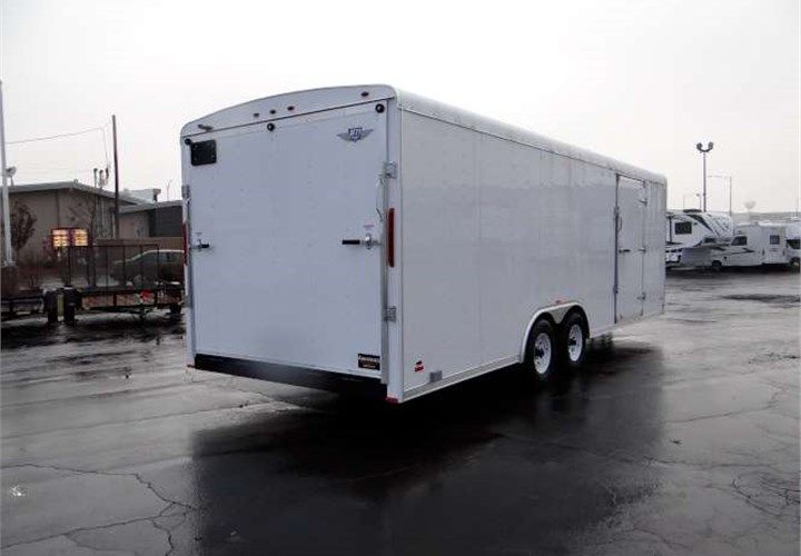 """Custom Plumbing Contractor Job Site Trailer. This Trailer Features a Custom Steel Racking System, a Rear Ramp Door, an Adjustable Pintle Style Coupler, 12"""" On-Center Framing. Call for more information on this trailer. Ref # HM634646 