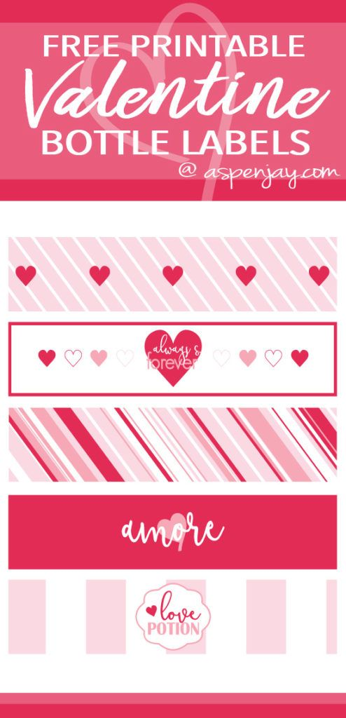 image relating to Printable Water Bottle Labels Free identified as No cost Printable Valentine Bottle Labels Valentines