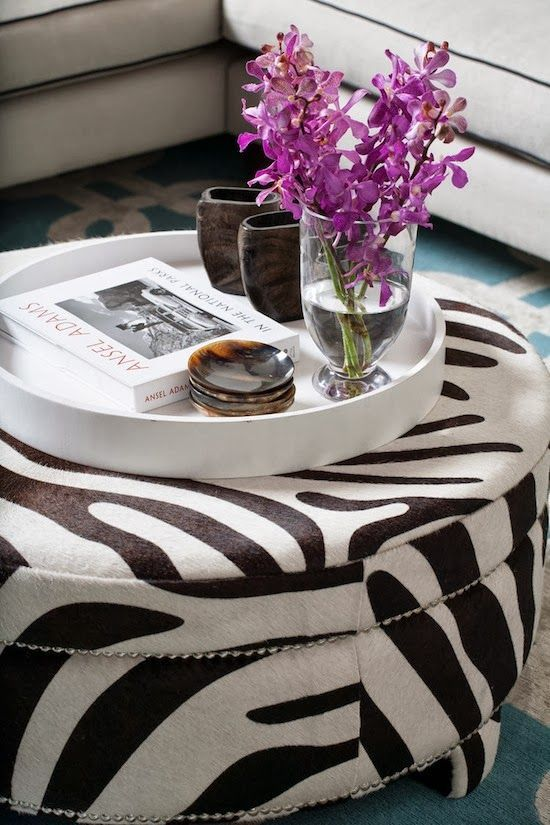 This Ottoman Is So Chic With The Zebra Print And The Metal Studsu2026and Paired