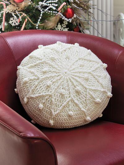 Crochet snowflake pillow pattern   round snowflake pillow pattern