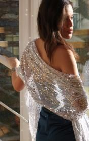 White Shawl with Silver Sequins