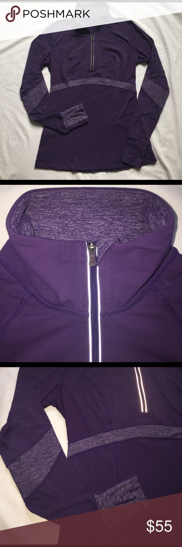 Lululemon Run Distance Pullover Purple Crush 8 Preowned condition. I'm no longer an 8, too big. Pls. Note left underarm  mesh starting to wear away. Body-skimming midlayer, Wicking, thermal, super-stretch, tech fleece is brushed on the inside. Body-mapping with anti-stick circle mesh, Cuffins w/thumbholes Measurements (when lying flat, unstretched) -Shoulders: 14.75 in, Bust: 18 in, Waist: 15.25 in, Hem: 19.5 in, Length (from shoulder): 24.75 in. Length (from neck top): 28.75 in  -Sleeve…