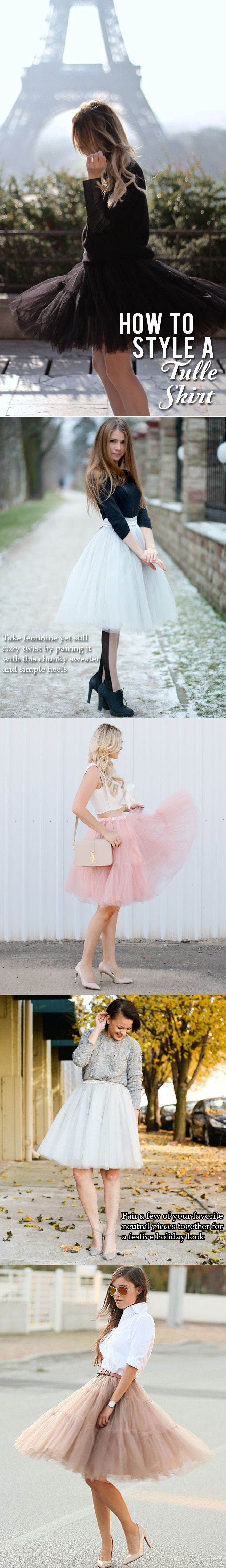 How to style a tulle skirt for your holiday party. Take feminine yet still cozy twist by pairing it with this chunky sweater and simple heels or pair a few of your favorite neutral pieces together for a festive holiday look.