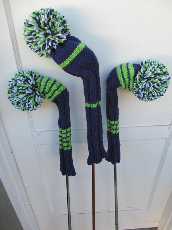 Hand Knit Golf Club Head Covers Set of 3 Navy Lime by magsbagz, $64.99