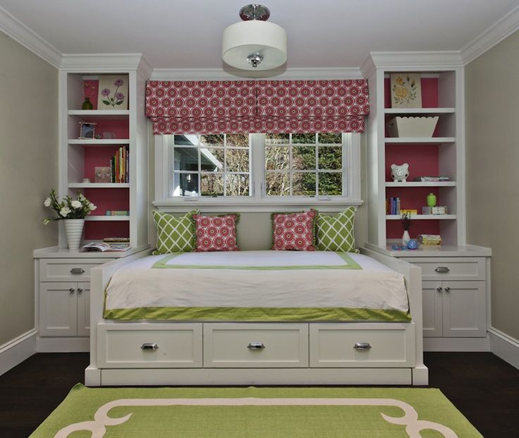 Fiorella Design: Sweet pink & green girl's bedroom with greige walls paint color, green rug with white ...