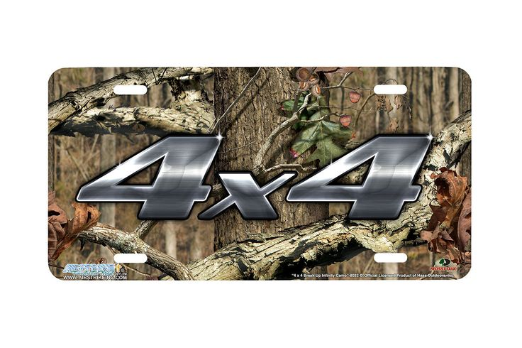 "Airstrike® Mossy Oak License Plate 8032-""4 x 4 Break Up Infinity Camo""-Mossy Oak Camo Hunting License Plate"