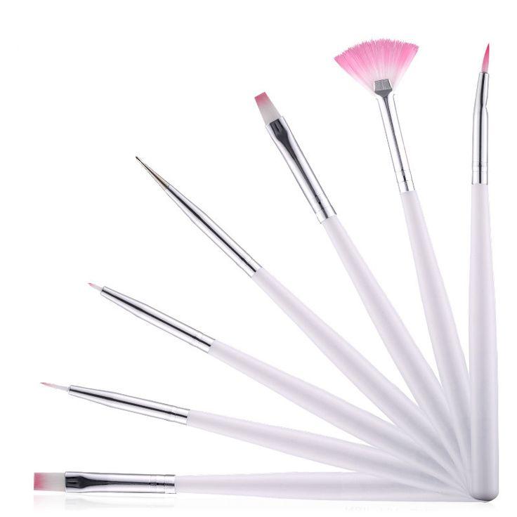 7Pcs/Set Professional Painting Pen Set Nail Art Pen Brush DIY Gel Nails Tools Coloring Hair Brush Wood Pen Nail Art Brush Set