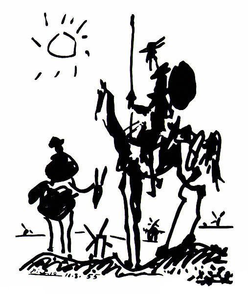 Don Quixote is a 1955 sketch by Pablo Picasso of the Spanish literary hero and his sidekick, Sancho Panza. It was featured on the August 18-24 issue of the French weekly journal Les Lettres Françaises in celebration of the 350th anniversary of the first part of Cervantes's Don Quixote. Made on August 10, 1955, the drawing Don Quixote was in a very different style than Picasso's earlier Blue, Rose, and Cubist periods.