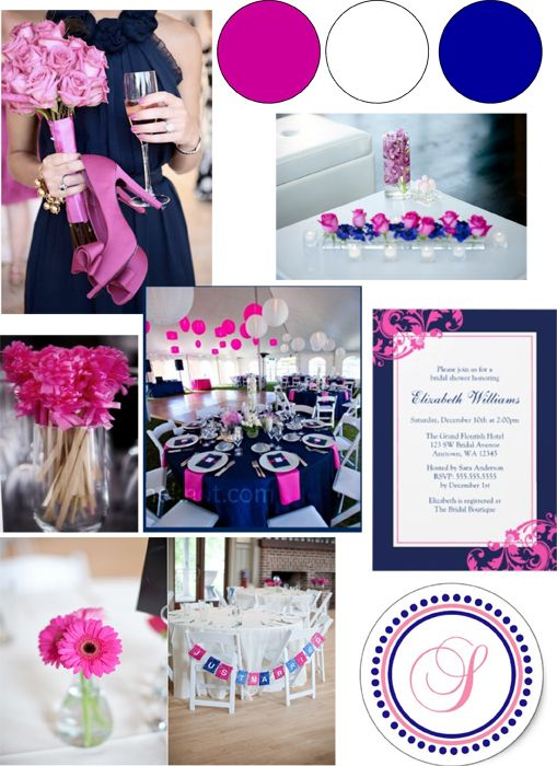 Navy Blue and Pink #wedding #party