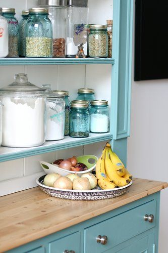 love all the jars.: Kitchens, Decor Ideas, Blue Jars, Decorating Ideas, Mason Jars, Aqua, Kitchen Ideas