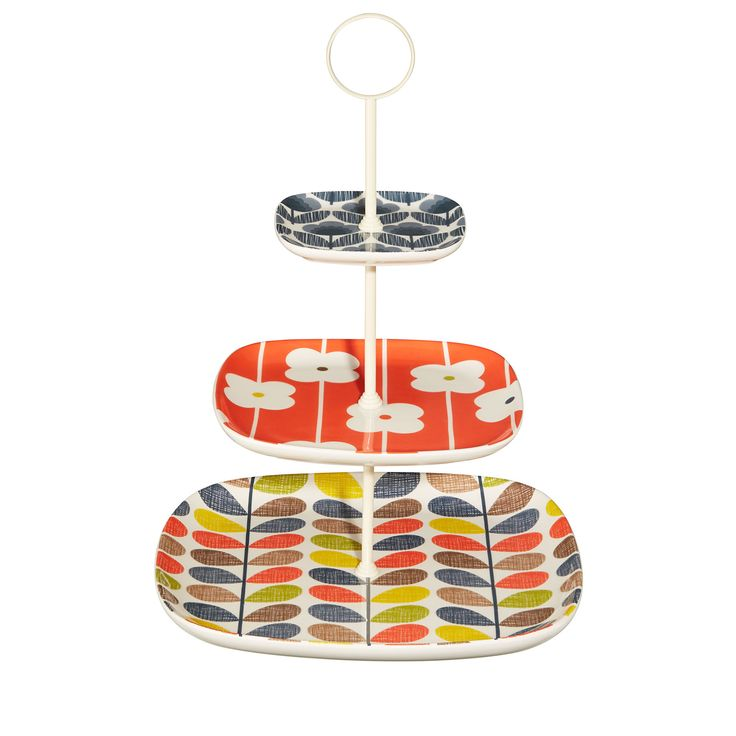 Orla Kiely: Cake stand in Multi Stem design with three brightly coloured tiers.    These ceramics are produced in Portugal and are handmade. Pieces may therefore display slightly varied characteristics.    PLEASE NOTE:  Ceramics are sold within the UK only.
