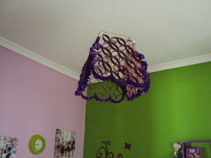 A lampshade made of toilet roll paper and tissue paper for my bedroom!!!!