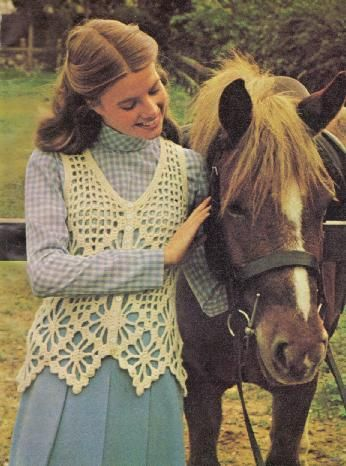 Crochet for Spring – A Pretty Vest. I love this design! It would be so pretty like a pinafore wore over a classy country cotton dress.