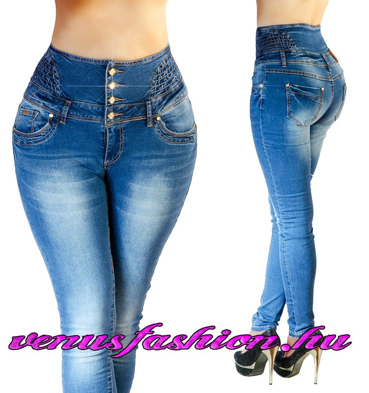 Magas derekú női farmer 5 gombos XS S M L XL - Venus fashion női ruha webáruház