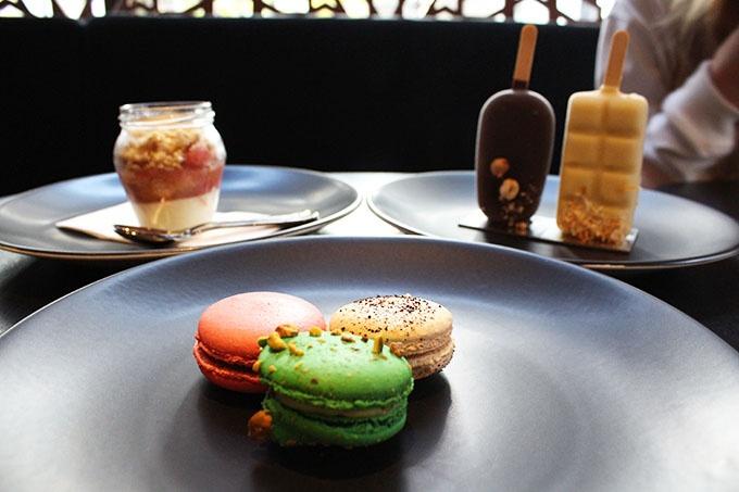 Macarons: Macaron of the Day (Raspberry Rose Chocolate) /Pistachio /Wattleseed