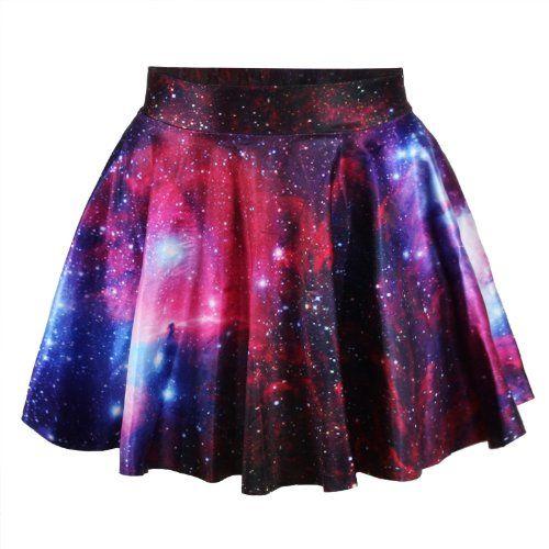 got it! Ninimour-Fashion Damen Sommerkleid Retro Digital Print Vintage Kleid Minikleid Minidress Minirock Rock Skirt (One Size, MD6520-galaxy): Amazon.de: Bekleidung