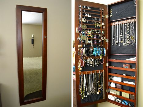 Small Apartment Hacks Hidden Jewelry 1 - Memo to self-Put more Command strip hooks inside my medicine cabinet today!