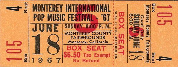 Jimi Hendrix – The Who – Janis Joplin – etc. – Monterey Pop Festival Unused Ticket, 1967