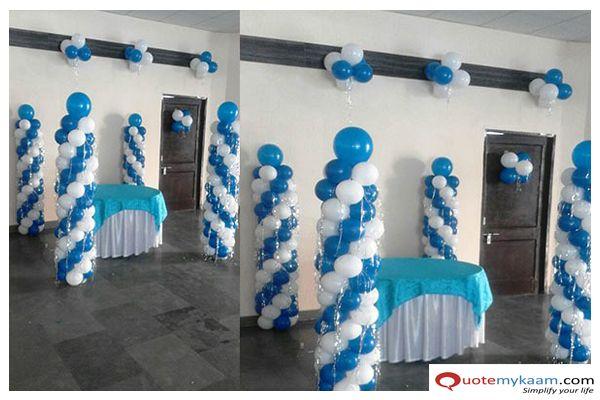 White And Blue Balloon Pillar Decoration Balloon Pillars Birthday Decorations Birthday Party Decorations