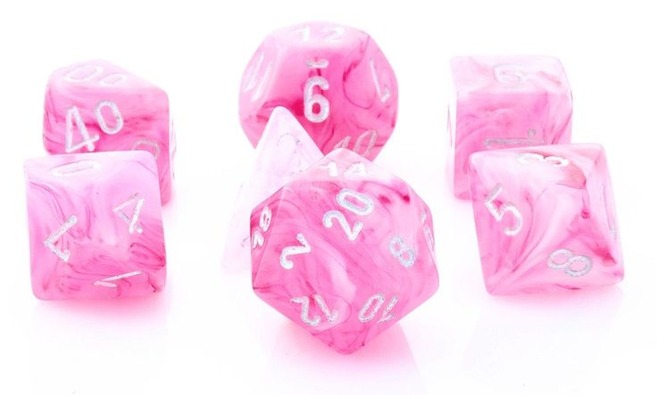 Ghostly Glow Dice (Pink) RPG Role Playing Game Dice Set