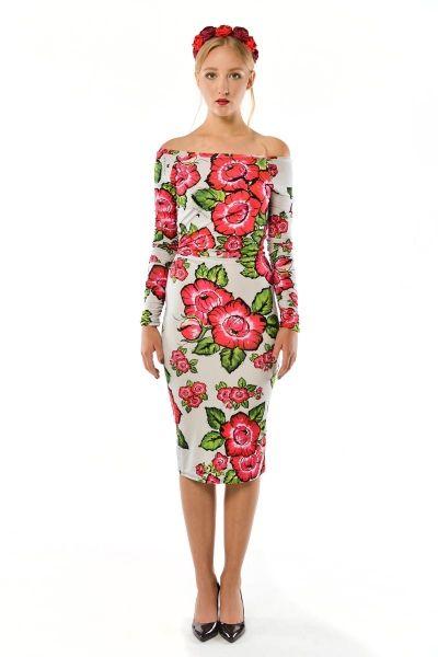 Radochna - sukienka w kwiaty z odsłoniętymi ramionami