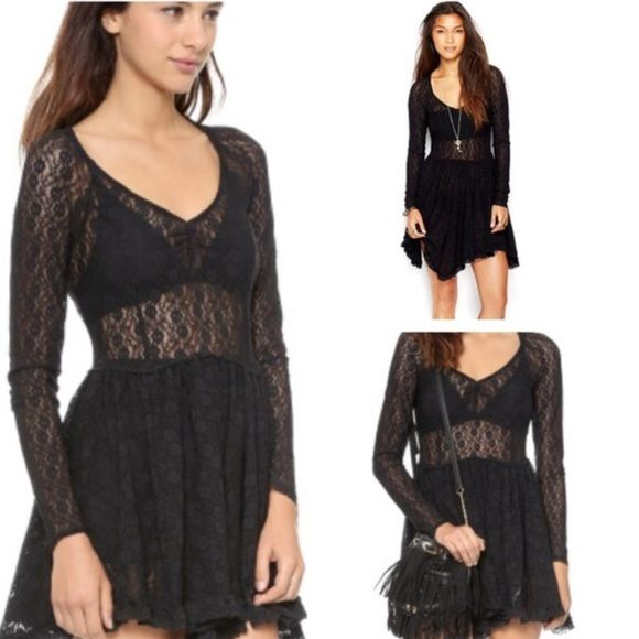 FREE PEOPLE Black Lace Witchy Skater Dress Priced to sell, this dress is brand new and is SOLD OUT IN STORES! Cheapest listing on Posh for this dress. Free People Dresses Mini