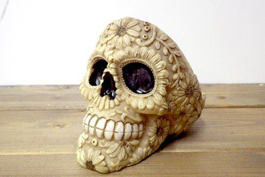 メキシカンスカル カラベラ 骸骨 頭蓋骨 灰皿 シュガースカル アシュトレー 花柄 ボーン 通販ページ