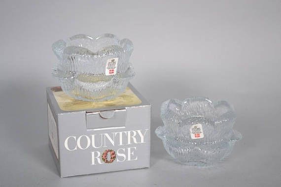 Set of two Holmegaard glas candle holders   made in Denmark