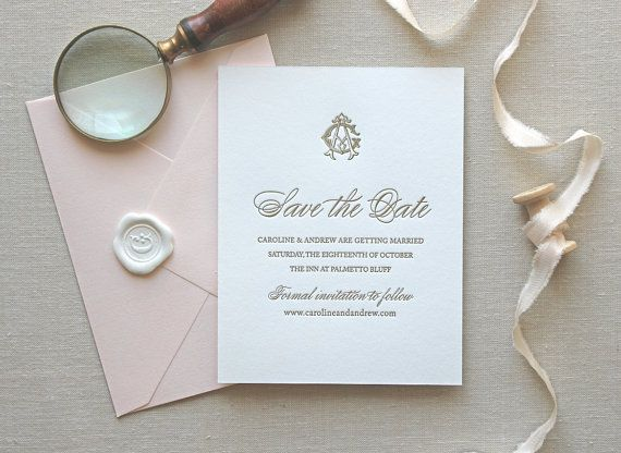 Letterpress Save the Date- Charleston Save the Date, Monogram, Classic, Traditional, Gold, Formal