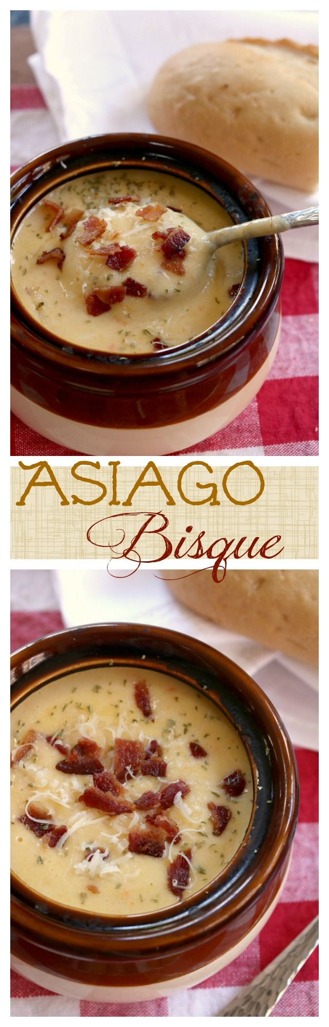 This thick & creamy Asiago bisque is topped with crunchy bacon and a touch of parsley. It's a simple, yet savory, must-try recipe!