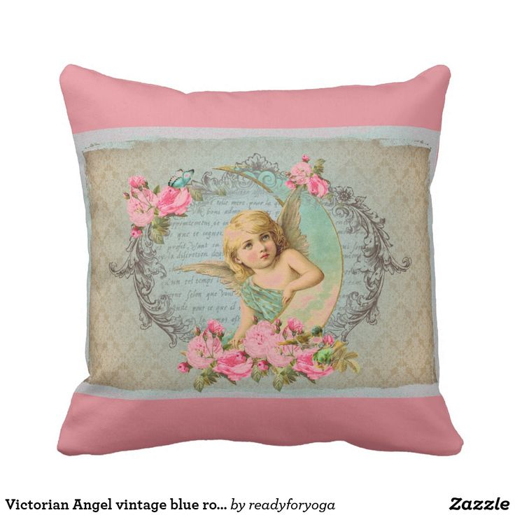 Victorian Angel vintage blue rose pink antique Throw Pillow