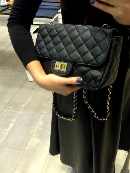 γυναικεία τσάντα καπιτονέ μαύρη