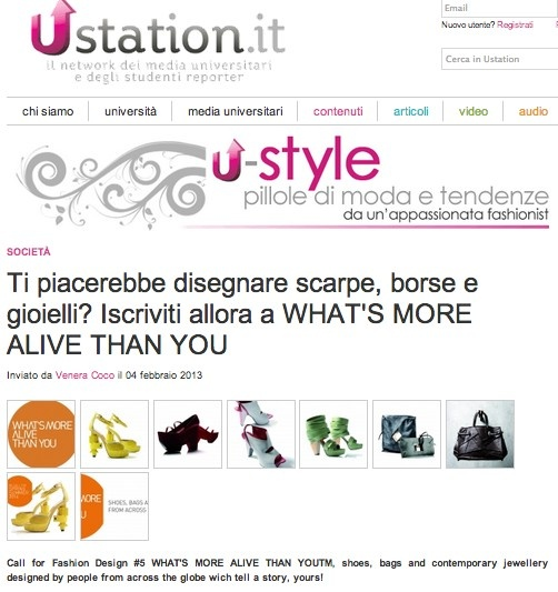 "USTATION (February 2013)_Ustation says: ""Call for Fashion Design #5 WHAT'S MORE ALIVE THAN YOU™, shoes, bags and contemporary jewellery designed by people from across the globe which tell a story, yours!"""