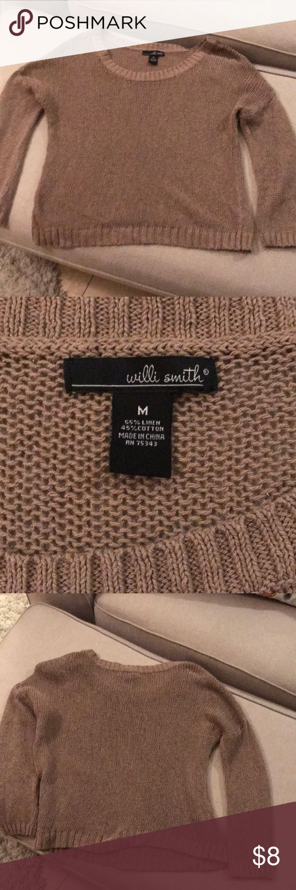 Women's Short Sweater Great for the new trend with a camisole underneath! Dark khaki, open knit sweater- looks great with dress leggings and boots! Willi Smith Sweaters