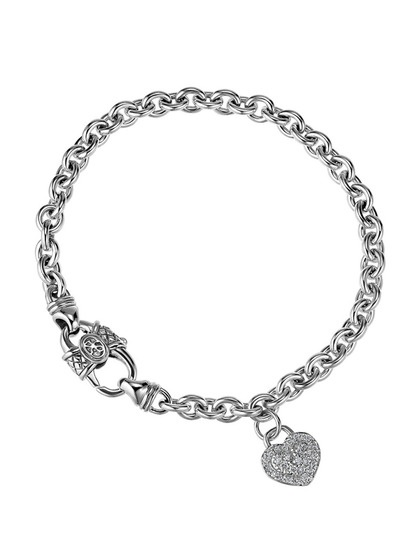 Sterling silver chain bracelet with pave diamond heart charm detail    Total diamond carat weight is 0.23  Diamond color is H  Diamond clarity is SI  7½ inches long  0.15 inch charm drop  By Scott Kay on Gilt.com