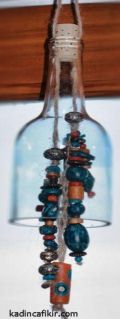 Cam şişe kesme ile rüzgar çanı cam şişe süs eşyası modeli   Kadınca Fikir