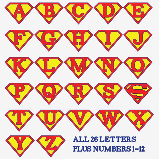 Printable Superman alphabet letters and numbers - make a super hero birthday party banner, front door decoration, birthday iron-on t-shirt, whatever you wish!