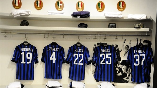 FC #Internazionale Milano dressing room  The FC Internazionale Milano dressing room before their UEFA Champions League round of 16 second leg against Olympique de Marseille